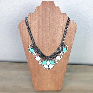 Teal and White Rhinestone Statement Necklace
